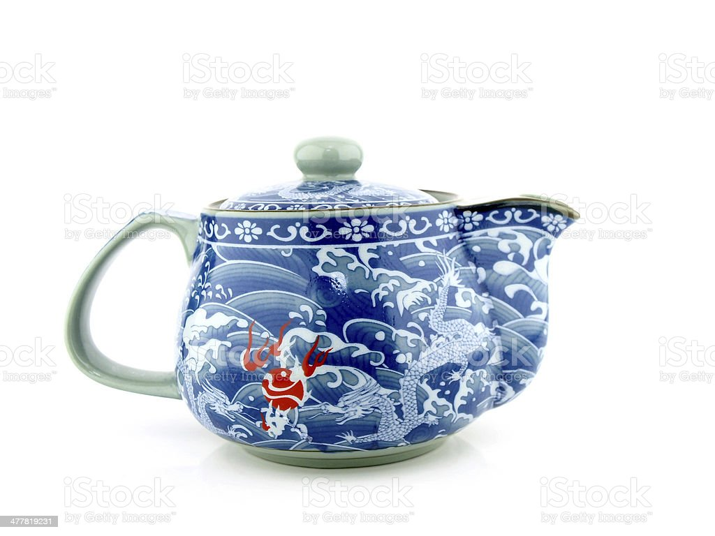 Chinese tea pot isolated on white background. stock photo