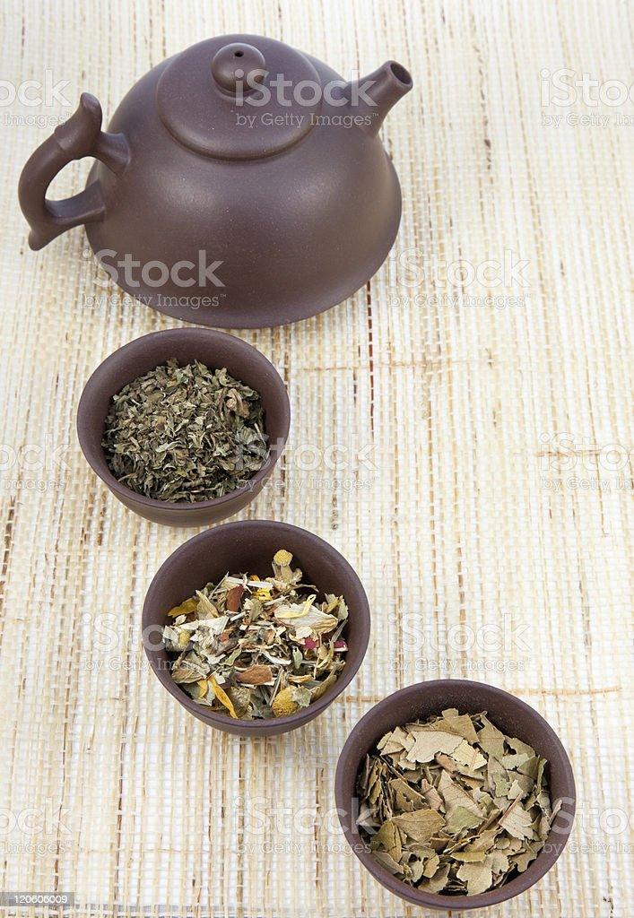 Chinese tea set and herbal teas royalty-free stock photo