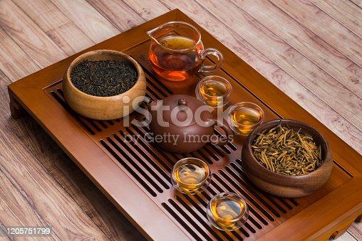 Chinese tea set on a tea table