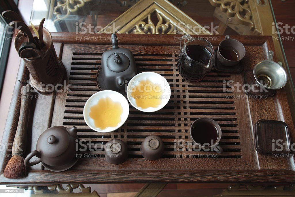 Chinese tea set on the table stock photo