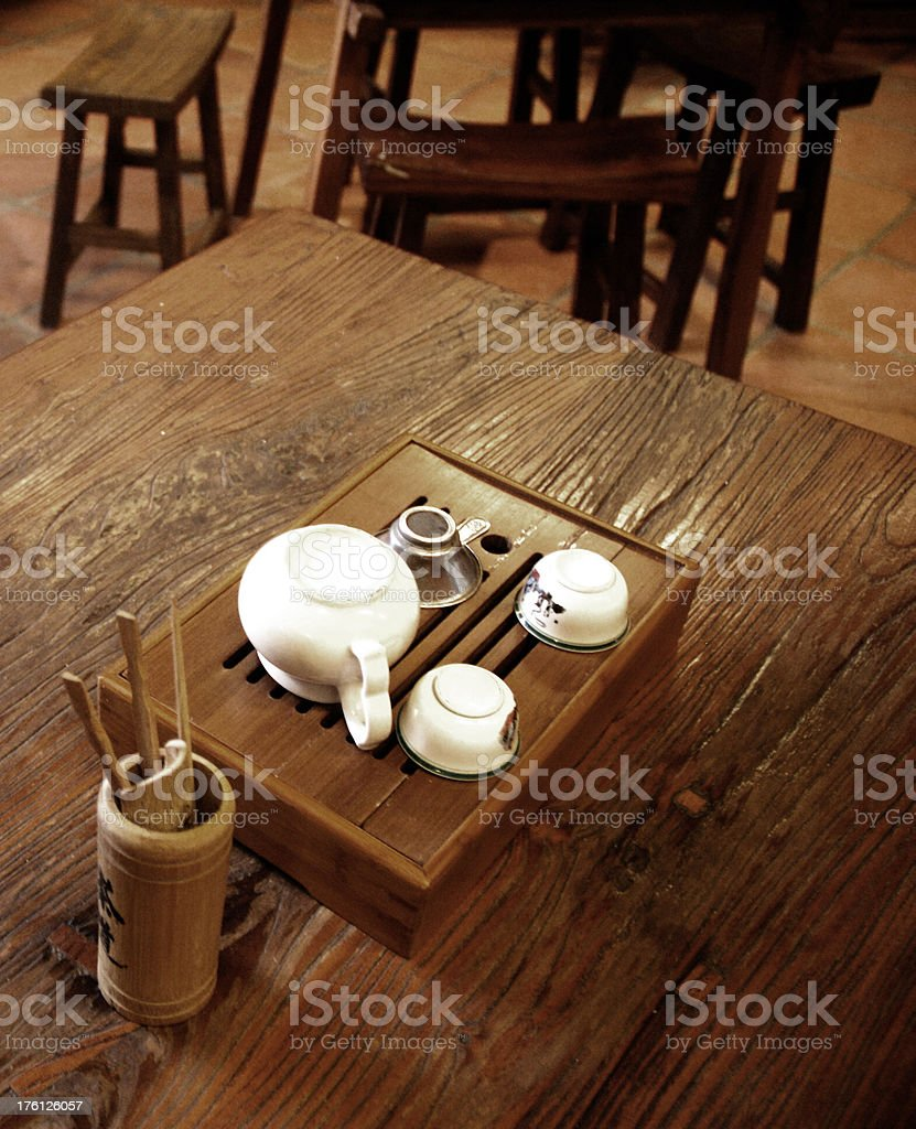 Chinese Tea set on wooden table royalty-free stock photo