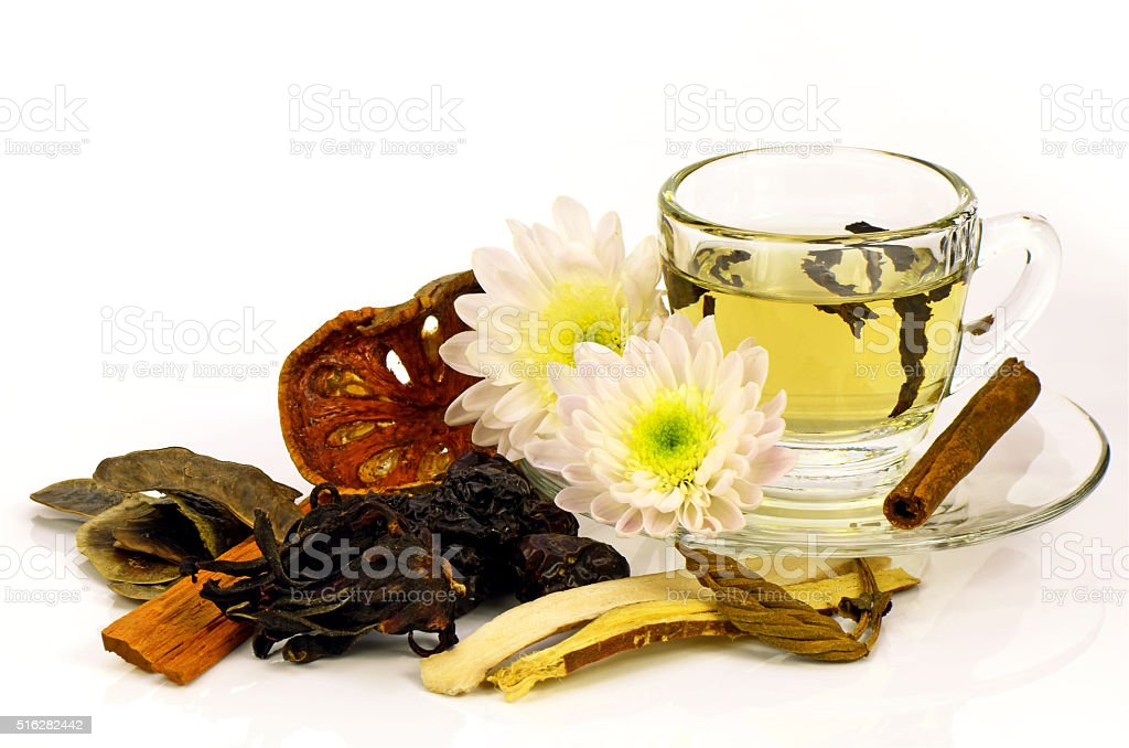 Chinese Tea with Chinese Herbal Medicine. stock photo