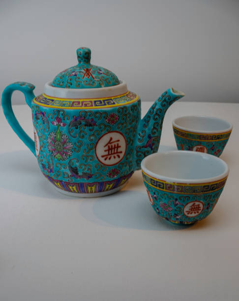 Chinese teapot and 2 cups stock photo