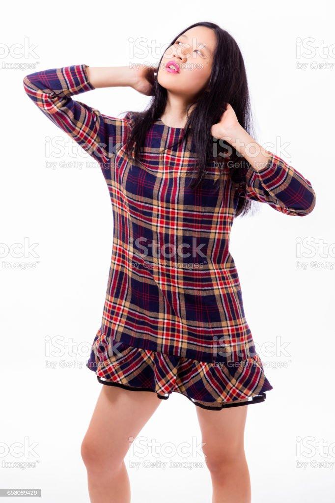 Chinese teenager standing stock photo