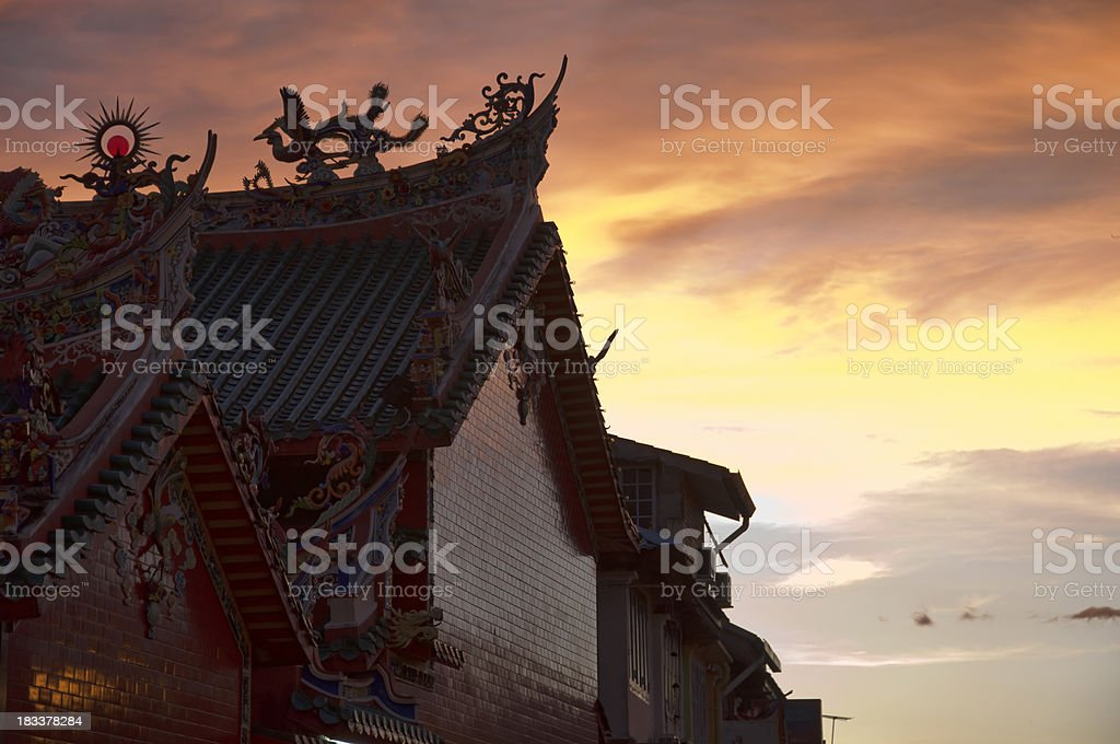 Chinese temple at sunset in the Kuching, Borneo. stock photo