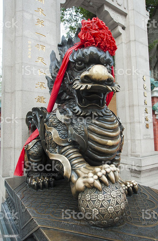 Chinese temple dog royalty-free stock photo