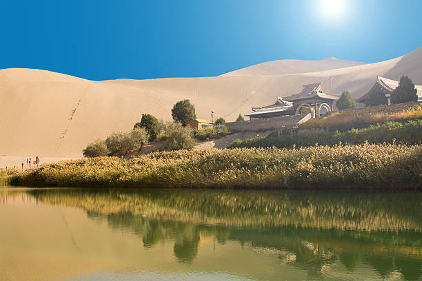 Chinese temple in desert Chinese temple in the desert, Mingsha Shan, Dunhuang, China silk road stock pictures, royalty-free photos & images