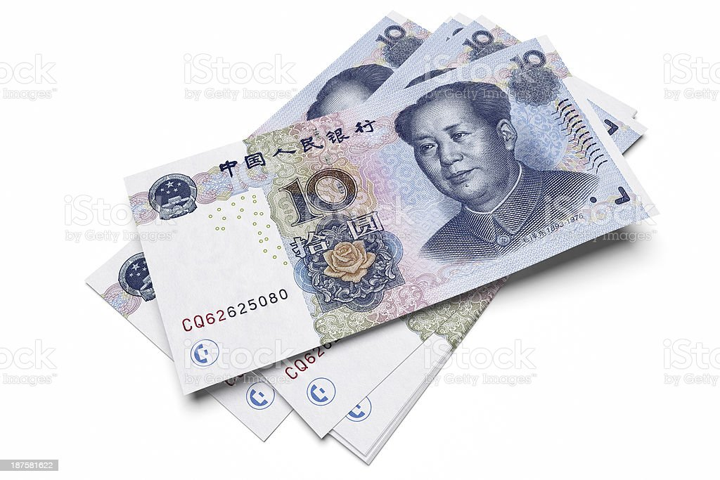 Chinese ten Yuan notes stock photo