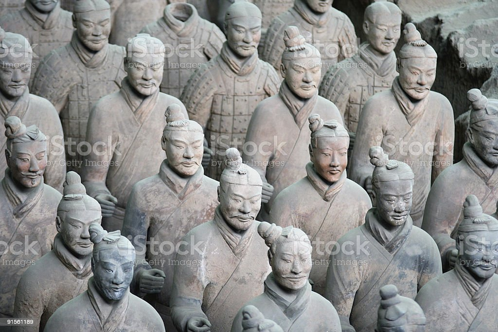 Chinese terracotta warrior statues stock photo