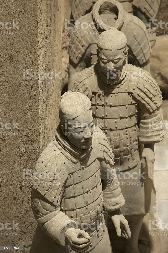 Chinese terracotta warriors to protect the emperor in his afterlife royalty-free stock photo