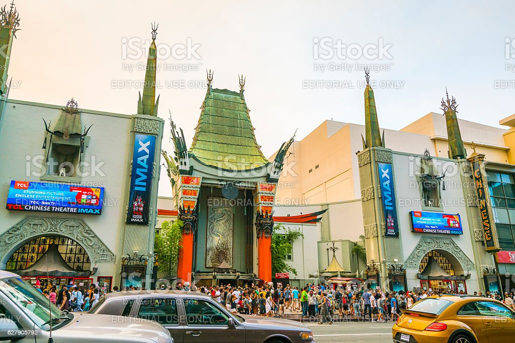 Chinese theatre at sunset,Los Angeles,California,usa. stock photo
