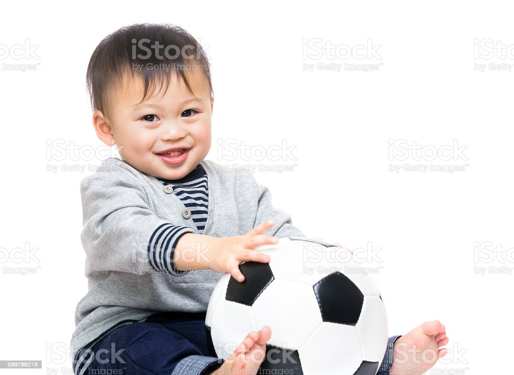Chinese toddler with football - foto de stock