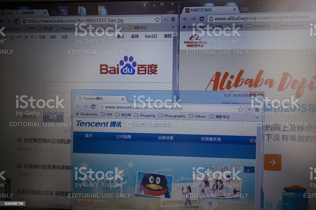Chinese Top 3 internet corporations' websites stock photo