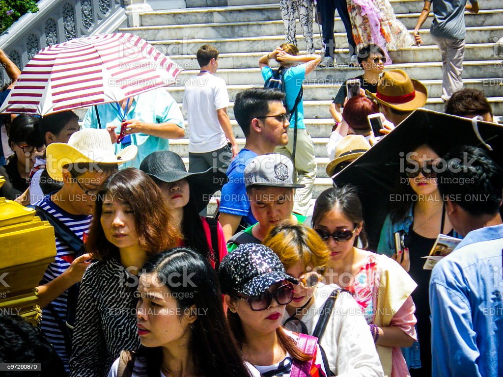 Chinese Tourist Group Summer Crowd – Foto