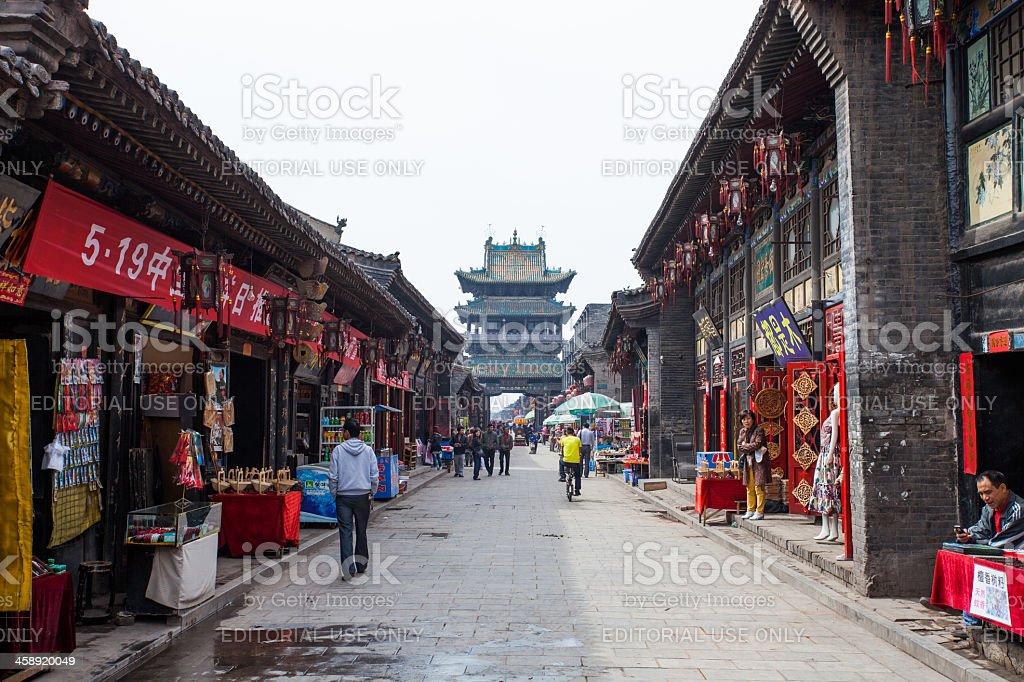 Chinese tourists visiting Pingyao's main street royalty-free stock photo