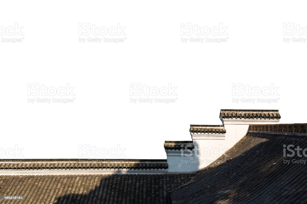 chinese traditional architecture isolated stock photo