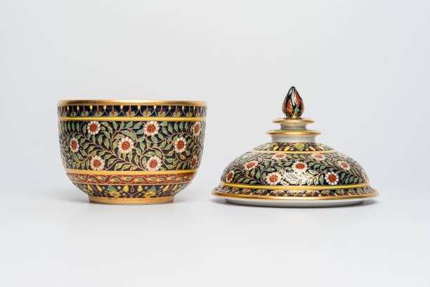 chinese traditional ceramic crockery with flowers ornament, handmade. isolated background front view - porzellan schmuck stock-fotos und bilder