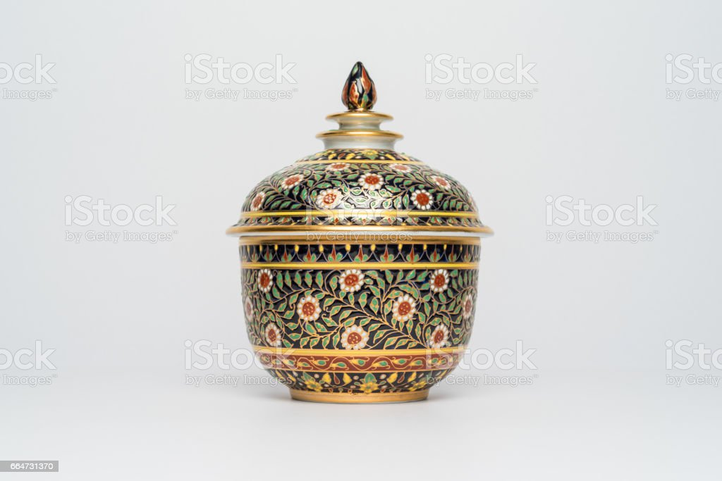 Chinese traditional ceramic crockery with Flowers ornament, Isolated background Front view stock photo