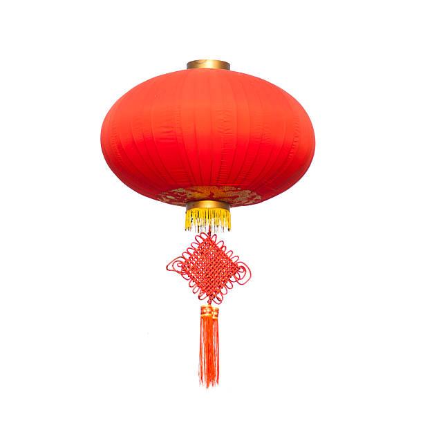 chinese traditional decorating knot  and lantern isolated on white background - rislampa bildbanksfoton och bilder