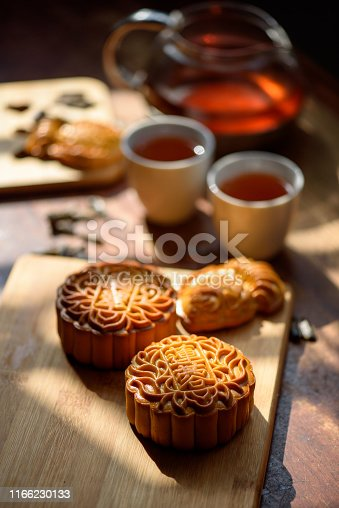 Image of Chinese traditional festival mid-autumn Moon cake and Tea. Chinese word on moon cake mean lotus seed paste and Jade Pandan paste.