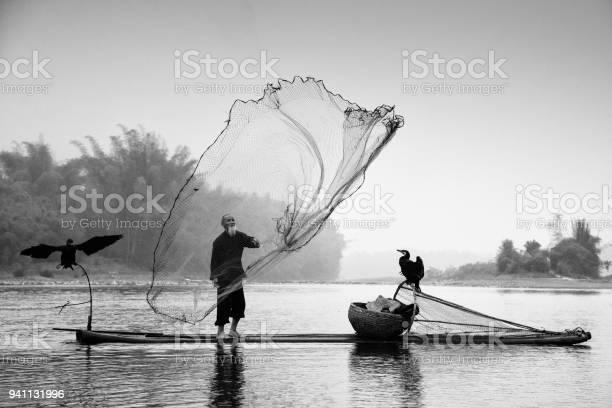 Chinese Traditional Fisherman Li River China Bw Stock Photo - Download Image Now