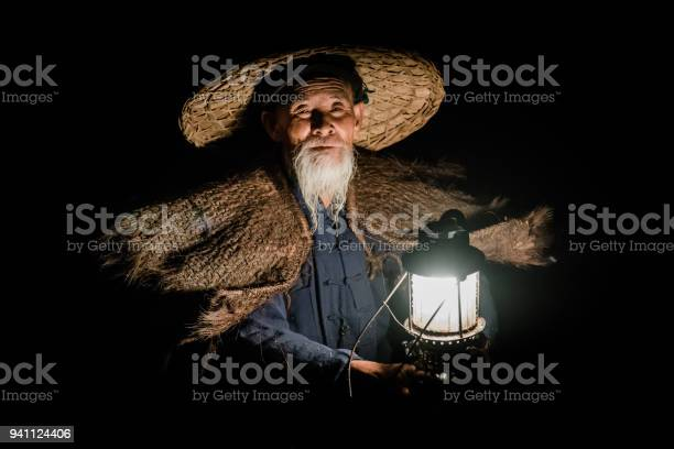 Chinese Traditional Fisherman Portrait Li River China Stock Photo - Download Image Now