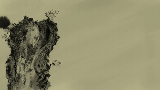 chinese traditional ink background with rock mountain and stained ink style on ancient yellow draw paper