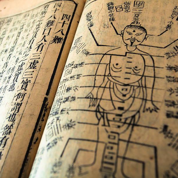 traditionelle chinesische medizin alten buch - chinesische zeichen tattoos stock-fotos und bilder