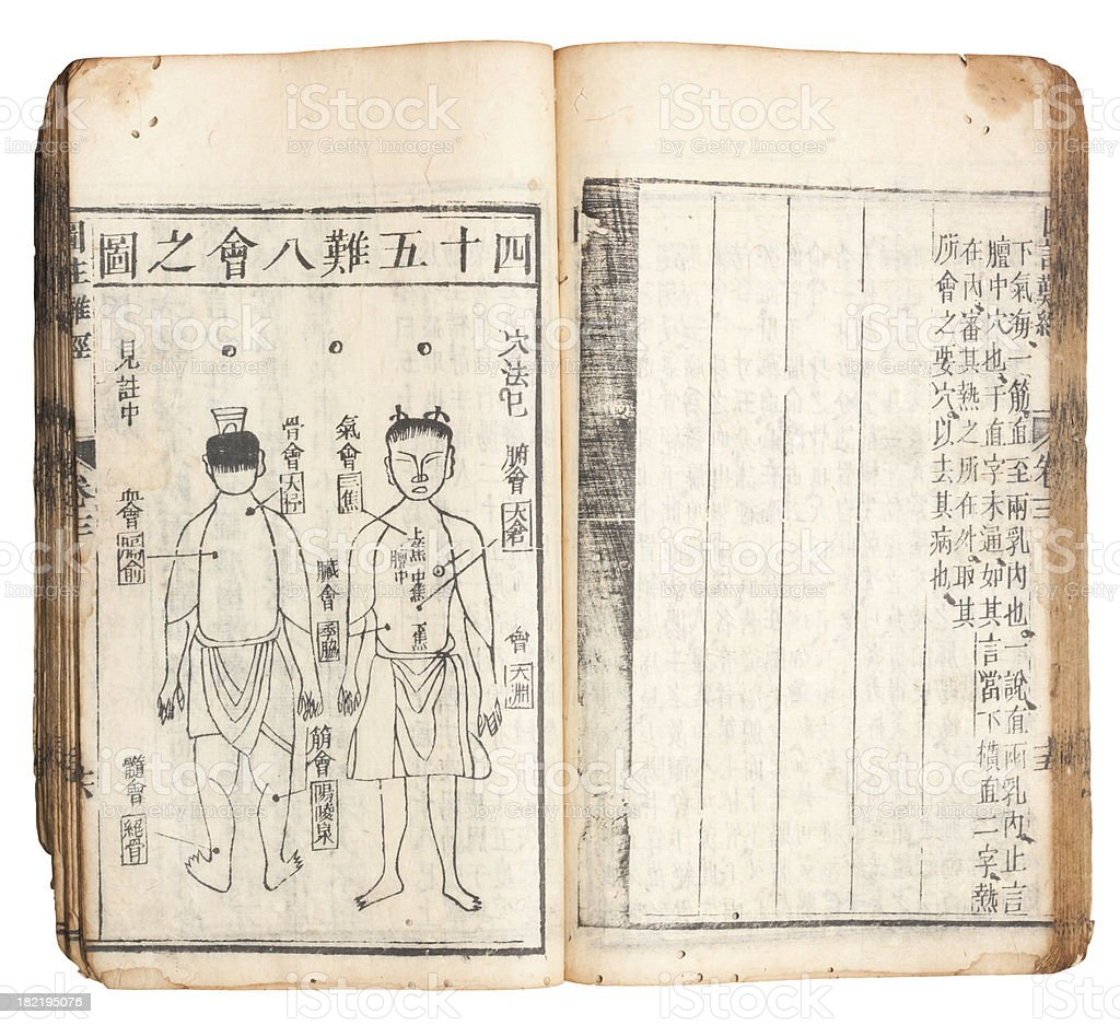 Chinese traditional medicine ancient book with Clipping Paths royalty-free stock photo