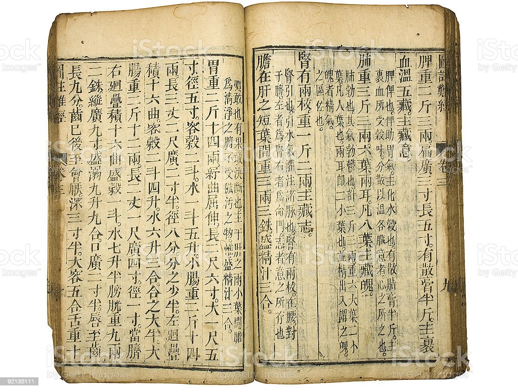 Chinese traditional medicine ancient book with Clipping Paths stock photo