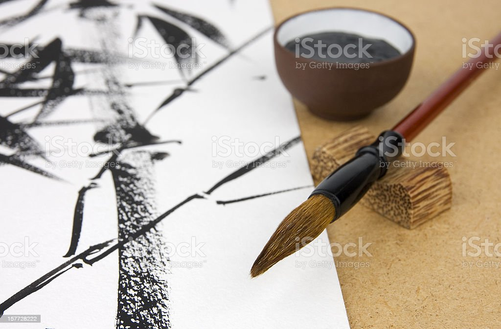 Chinese traditional painting called U-sin stock photo