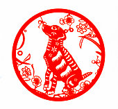 Chinese traditional paper cutting, Zodiac signs. Chinese New Year, Year of the Dog. Chinese animal dog traditional paper-cut art pattern. Dog paper cutting, Chinese New Year.