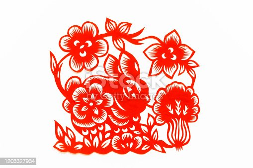 istock Chinese traditional paper cutting, Zodiac signs. Chinese New Year, Year of the Rabbit. Chinese animal moon rabbit traditional paper-cut art pattern. Rabbit paper cut, Chinese New Year. 1203327934