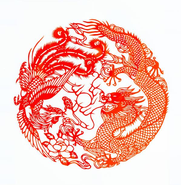 chinesische traditionelle papier schneiden, dragon, phönix, doppelte glück muster - vogel phönix tattoos stock-fotos und bilder