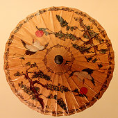 Chinese traditional paper umbrella, with a crane and ancient pine pattern
