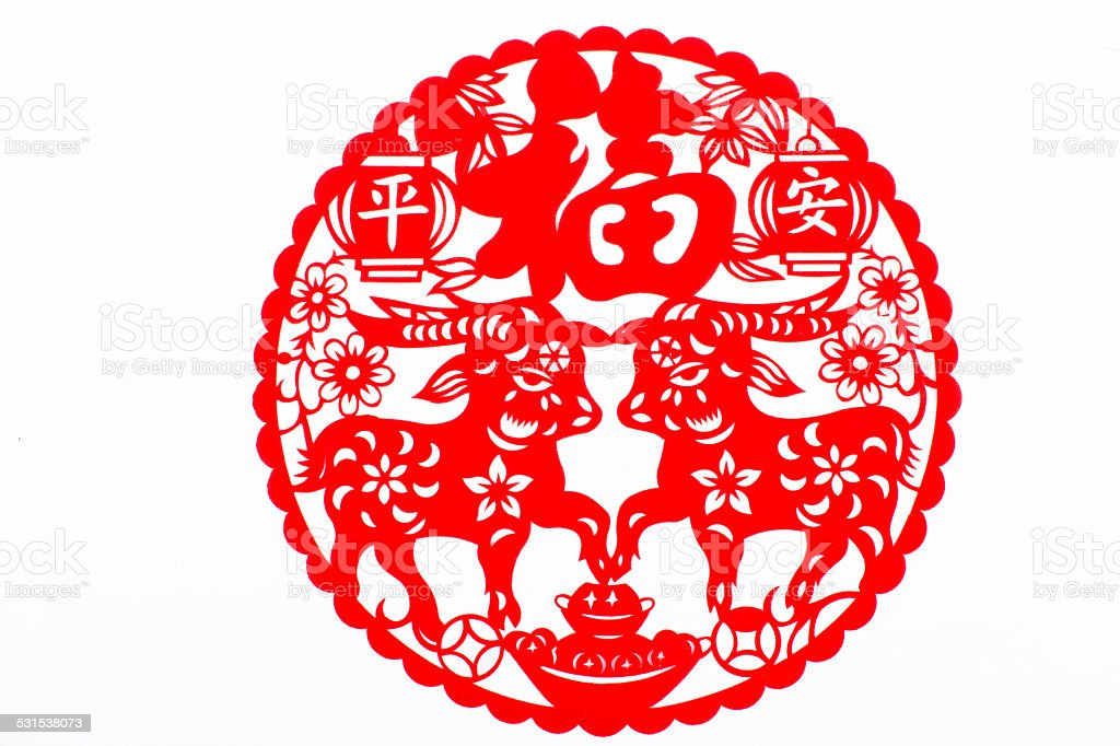 Chinese traditional paper-cut window decoration stock photo