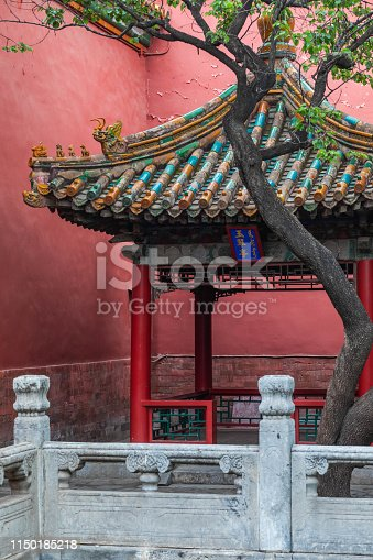 Chinese Traditional style pavilion with Colorful roof