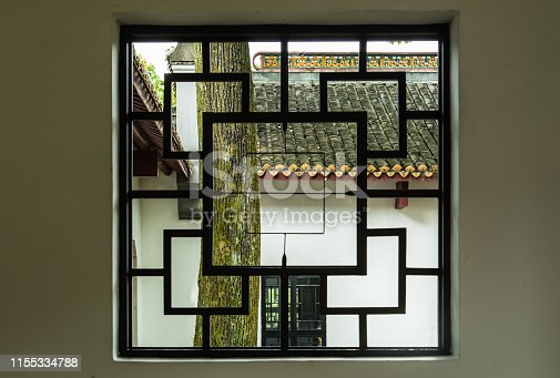 Chinese traditional style wood window in garden