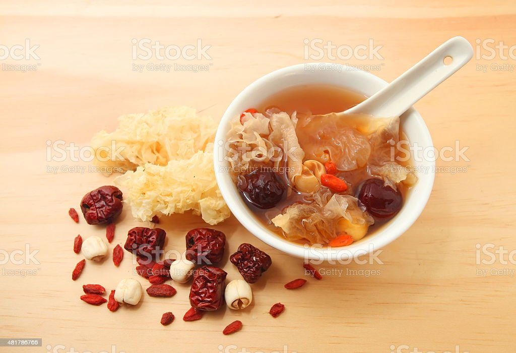Chinese traditional white fungus or snow fungus soup stock photo