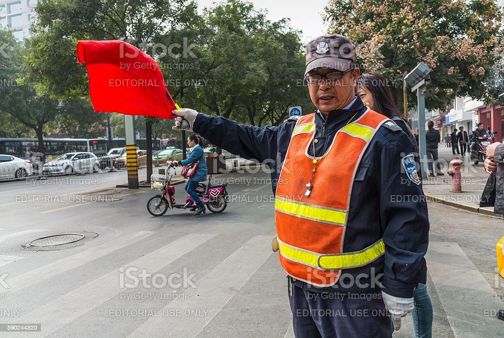 Chinese Traffic Warden - Xian, China stock photo