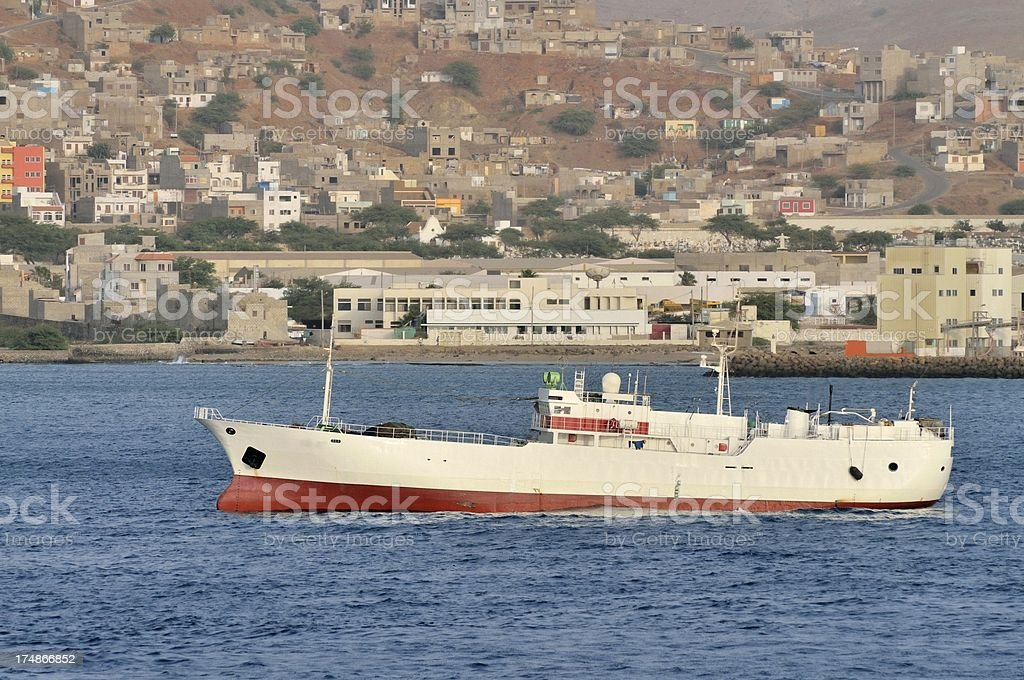 Chinese Trawler In Cape Verde royalty-free stock photo