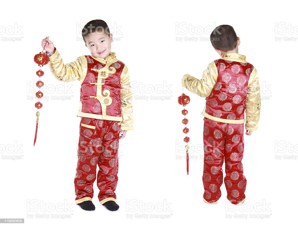 Chinese twins with traditional clothing and red lampions (series) royalty-free stock photo