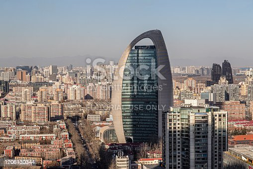 637668332 istock photo Chinese urban high-rise buildings and viaduct roads in Beijing financial district. 1206130344