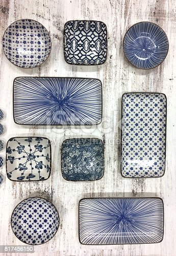 Chinese vintage style blue and white dishes.