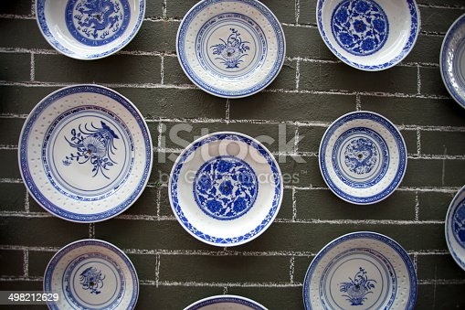 istock Chinese vintage wall design with porcelain 498212629