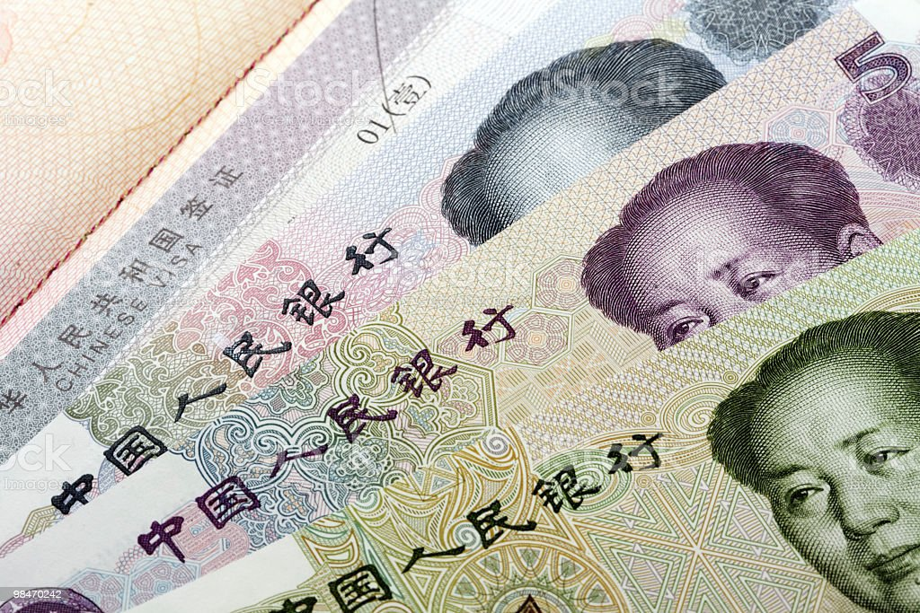 Chinese visa and currency stock photo