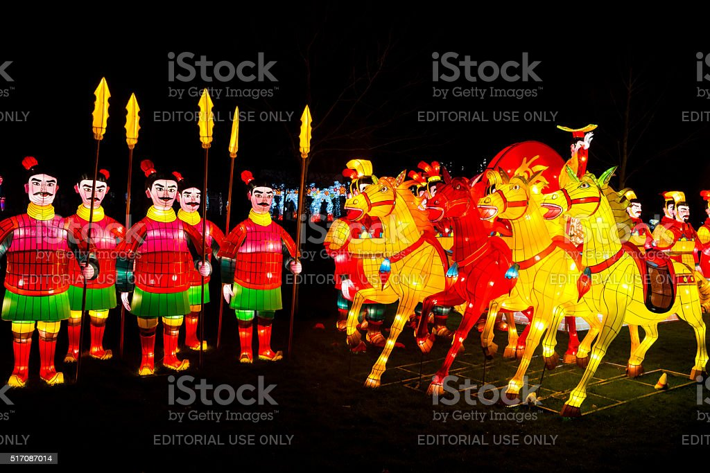 Chinese warriors and horses lanterns stock photo