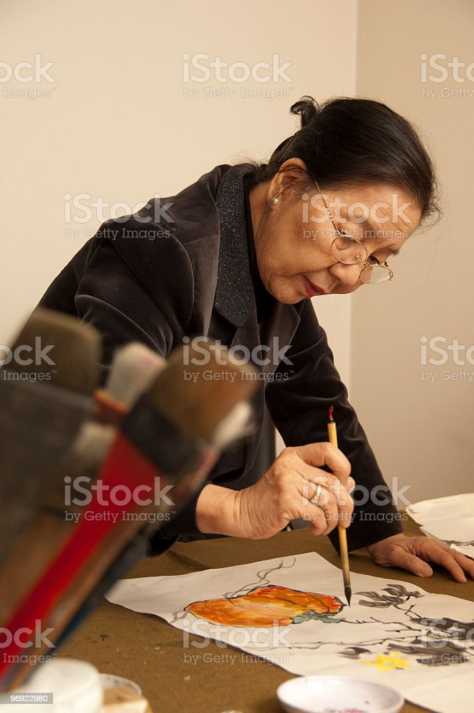 Chinese Watercolor Painter royalty-free stock photo