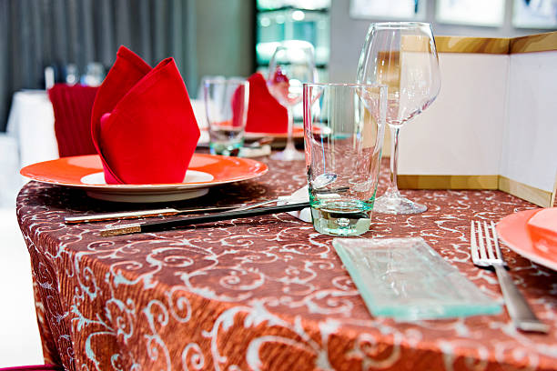 Chinese wedding banquet Table setting in a Chinese wedding banquet. chinese wedding dinner stock pictures, royalty-free photos & images