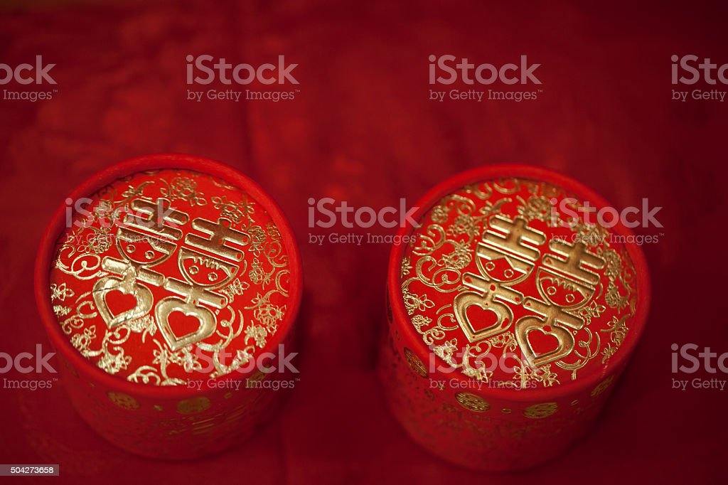 Chinese wedding box stock photo